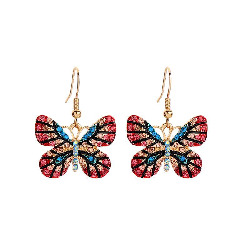 Last True Angel Turquoise and Pink Butterfly Drop Earrings