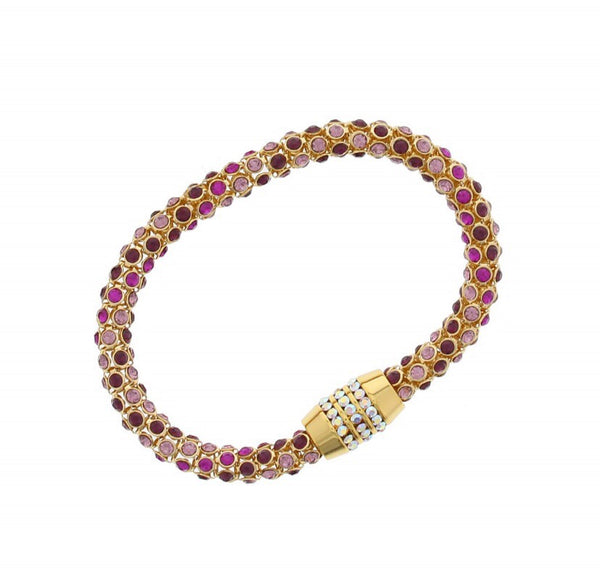 Nour London Pink & Purple Crystal Magnetic Bracelet