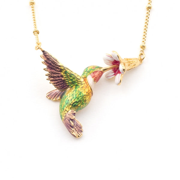 Bill Skinner Hummingbird & Trumpeting Flower Necklace
