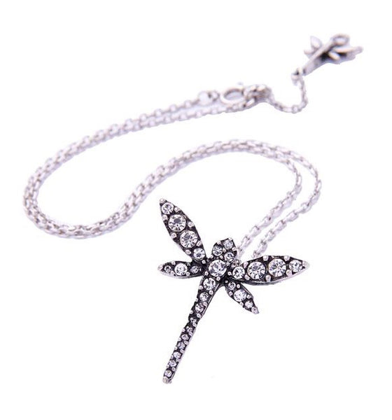 Last True Angel Dragonfly Pendant Necklace Silver
