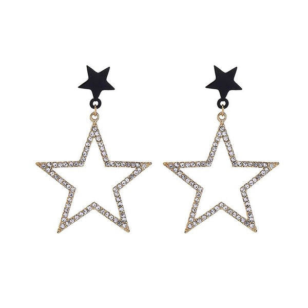 Last True Angel Black & Crystal Drop Earrings
