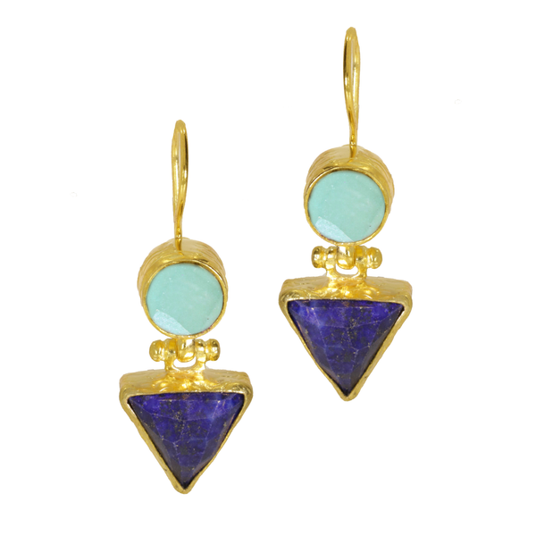 Ottoman Hands Lapis And Aqua Chalcedony Hydra Drop Earrings