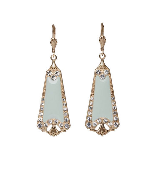 Lovett & Co Mint Green Enamel Drop Earrings