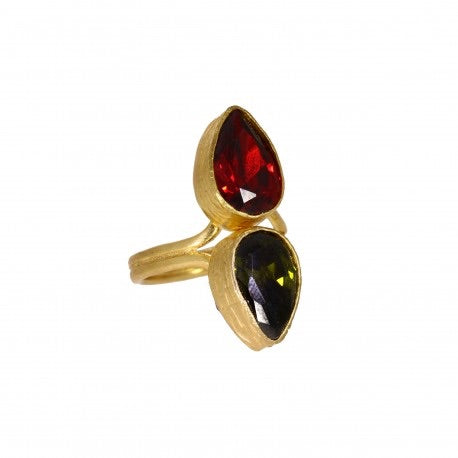 Ottoman Hands Red and Green Crystal Two Stone Ring