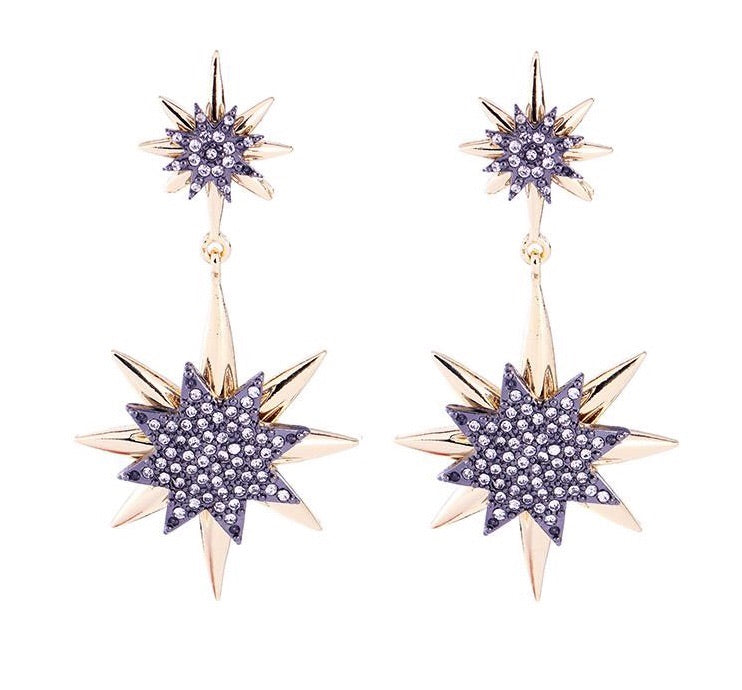 Last True Angel Gold And Pewter Star Drop Earrings