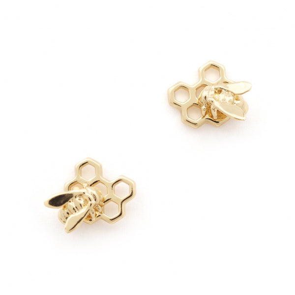 Bill Skinner Hexagon Bee Honeycomb Stud Earrings