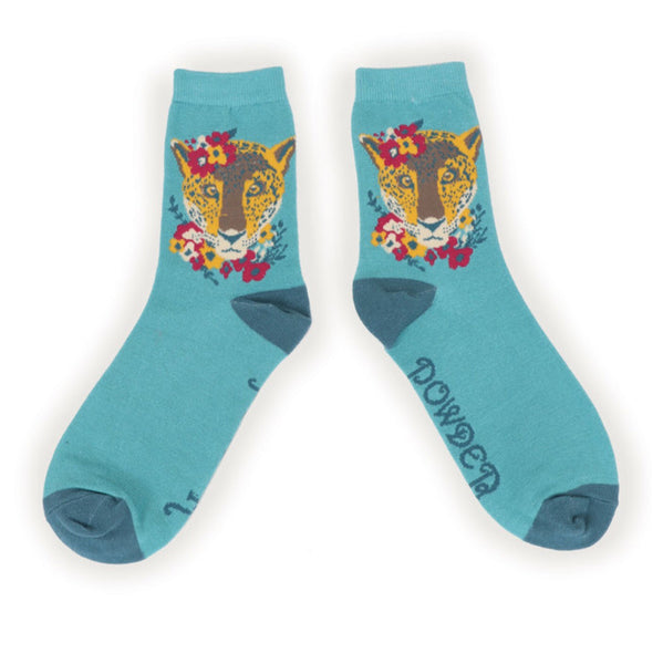 Powder Turquoise Leopard Bamboo Ankle Socks
