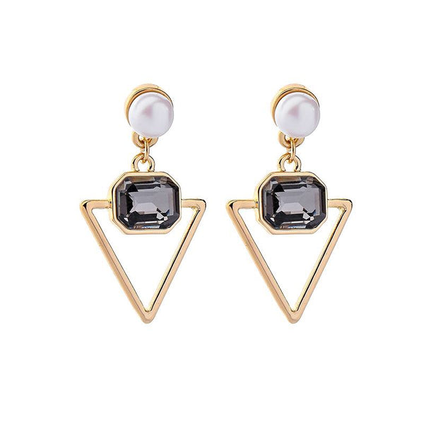 Last True Angel Pearl & Grey Triangle Drop Earrings
