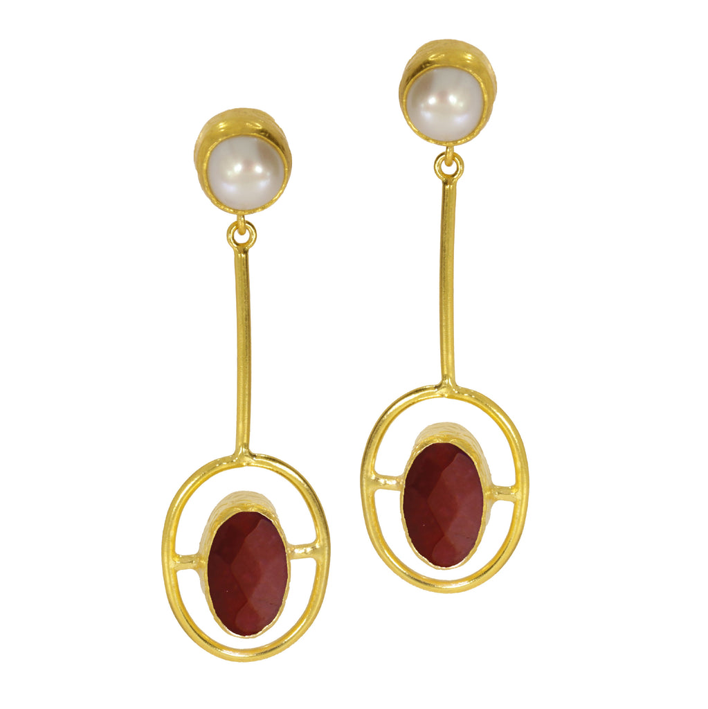 Ottoman Hands Moholy Red Agate and Pearl Earrings