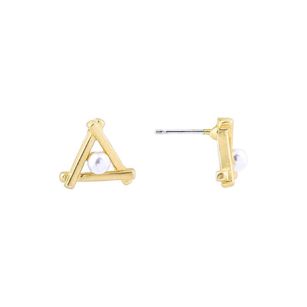 Last True Angel Matt Gold Triangle Pearl Stud Earrings