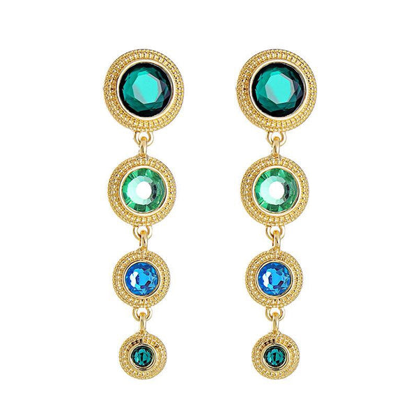 Last True Angel Green Disc Drop Earrings