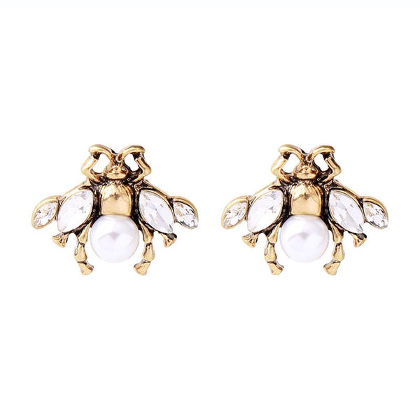 Last True Angel White and Gold Bee Stud Earrings