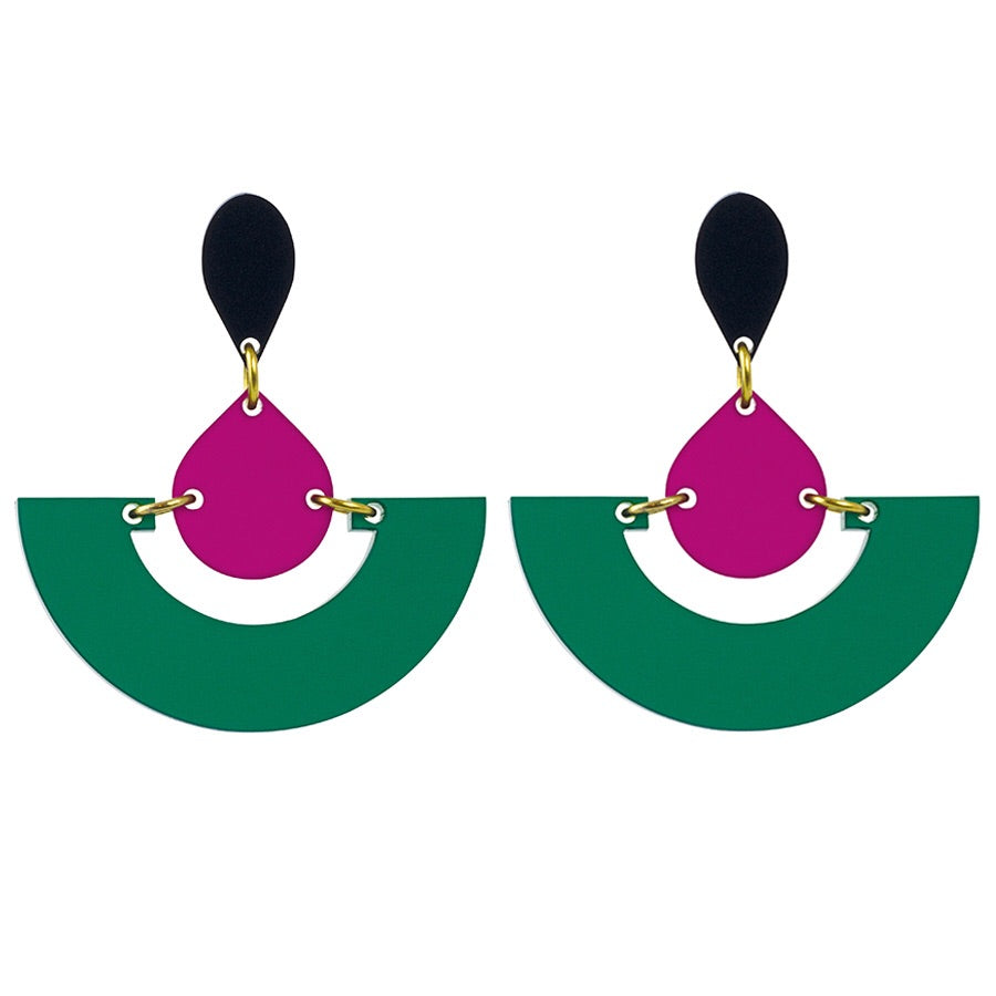 Toolally Emerald and Plum Fan Earrings