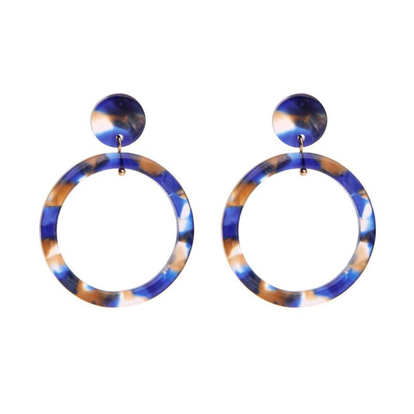 Last True Angel Royal Blue & Toffee Hoop Earrings