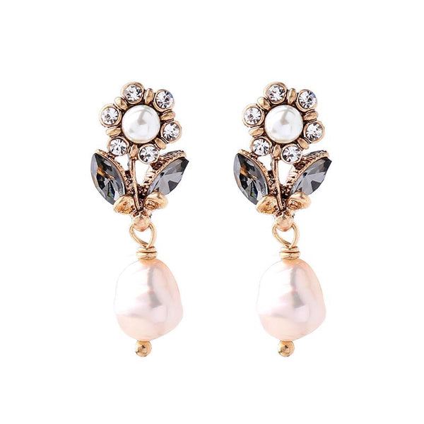 Last True Angel Flower and Pearl Drop Earrings