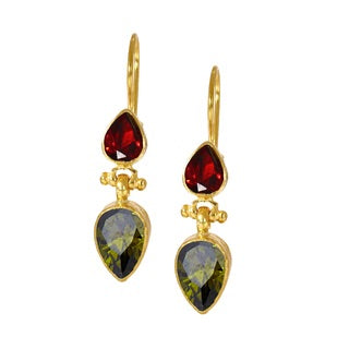 Ottoman Hands Red And Green Crystal Two Stone Drop Earrings