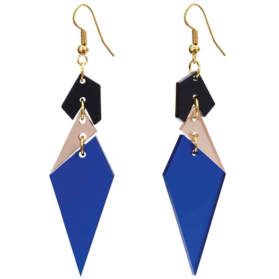 Toolally Abstract Diamond Earrings in Sapphire