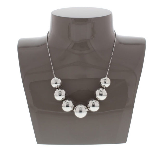 Nour London Silver Ball Statement Necklace