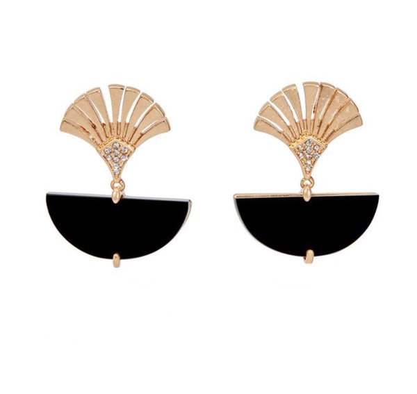 Lovett & Co Deco Fan Drop Earrings