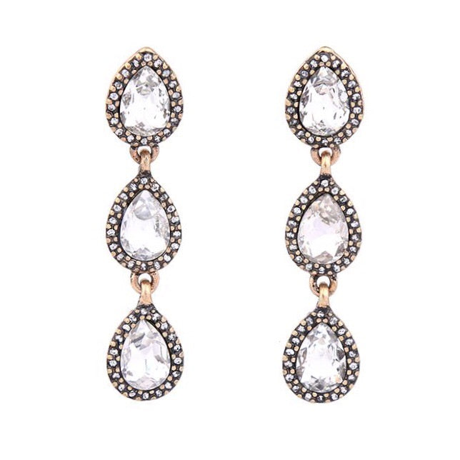 Last True Angel Triple Teardrop Crystal Earrings