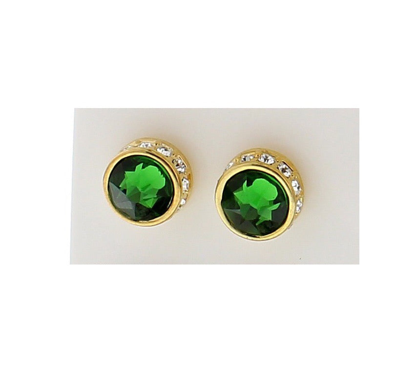 Nour London Green and Gold Stud Earrings