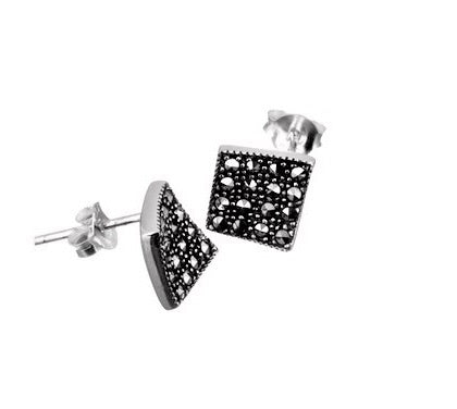 London Vintage Diamond Square Marcasite Stud Earrings
