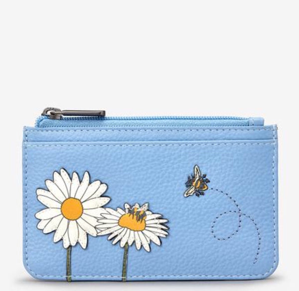 Yoshi Bee Happy Blue and Daisy Leather Cardholder Purse