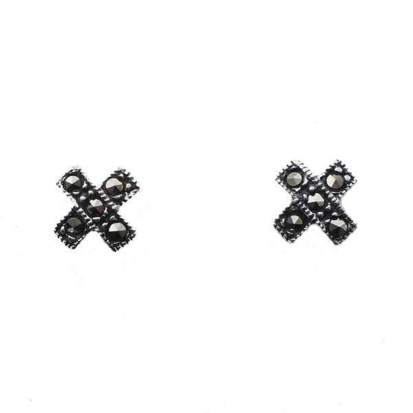 London Vintage Small Marcasite Cross Stud Earrings