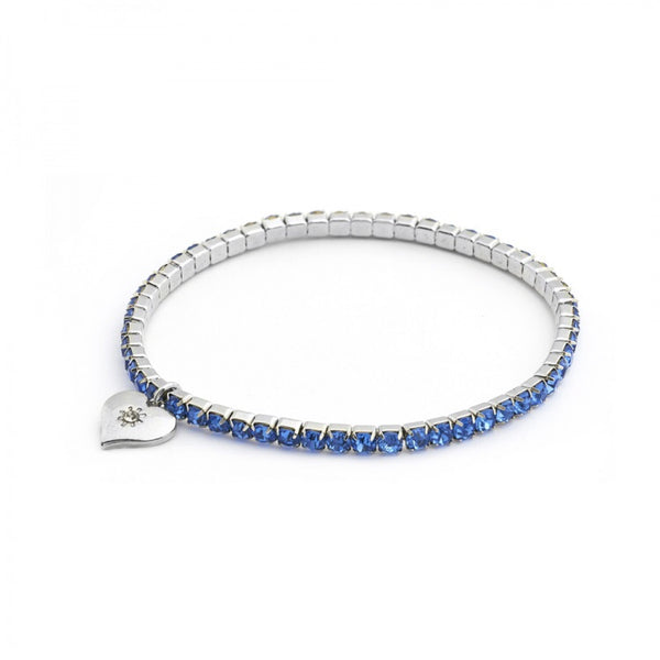 Lovett & Co Diamante Stretch Bracelet in Sapphire Blue