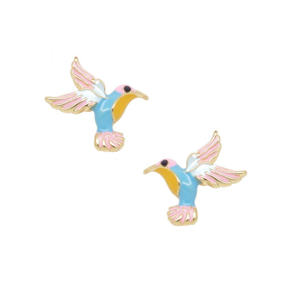 Last True Angel Pink & Blue Hummingbird Stud Earrings