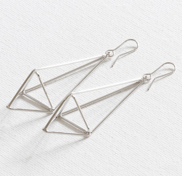 Big Metal London Long Geometric Drop Earrings