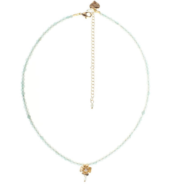 Rosie Fox Aqua Agate Gold Rose Necklace