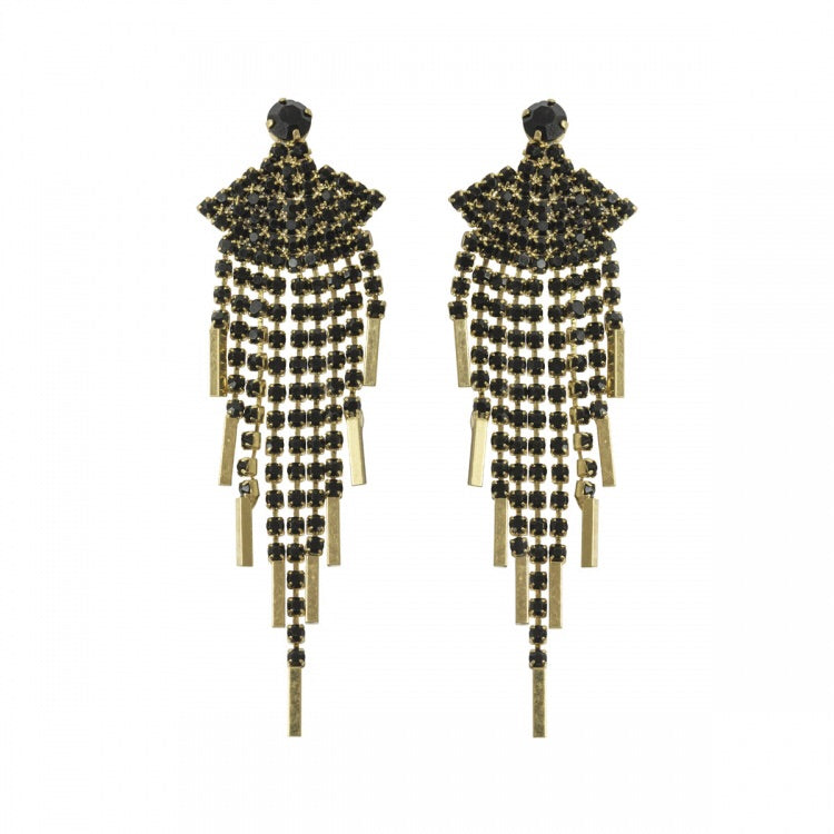 Lovett & Co Crystal Fan Long Drop Earrings