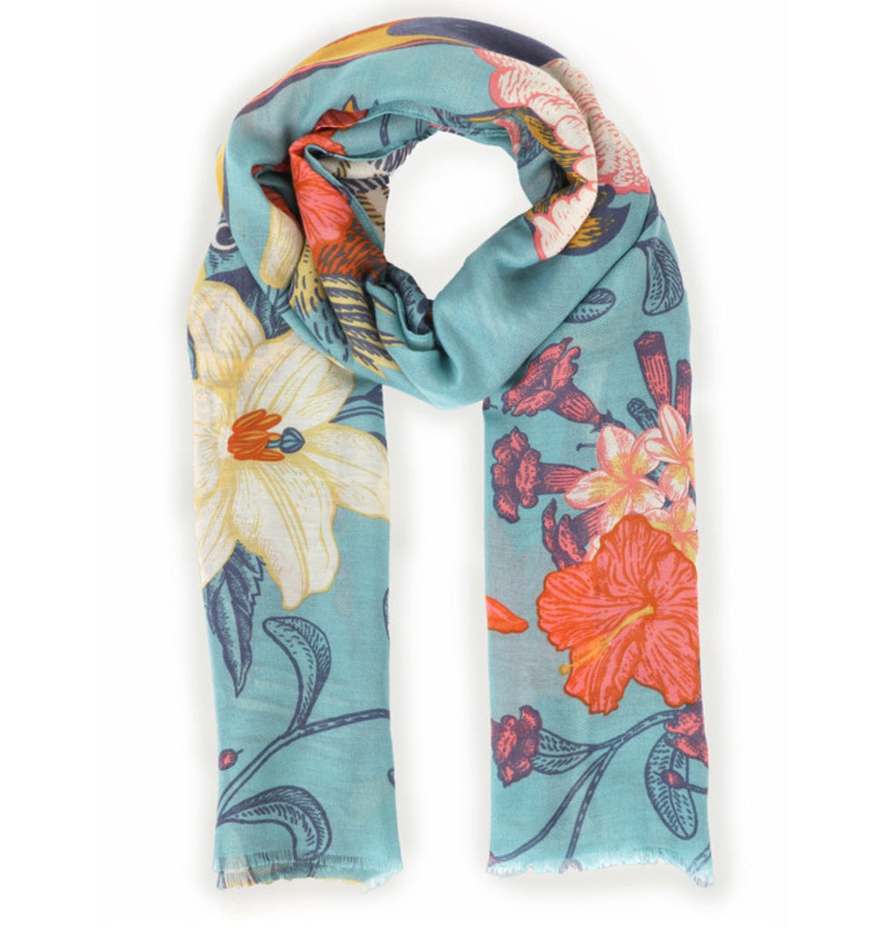 Powder Tropical Birds Scarf