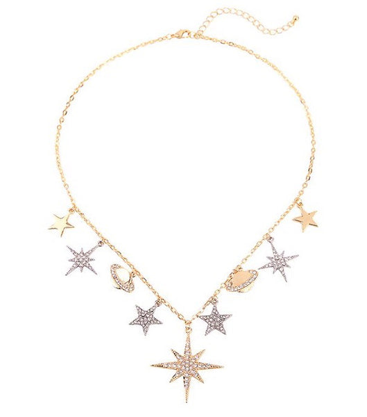 Last True Angel Stars & Planets Gold & Silver Necklace