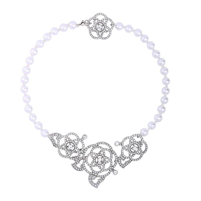 Last True Angel Deco Crystal Rose & Pearl Choker Necklace