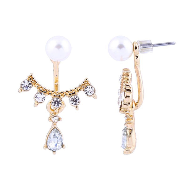 Last True Angel Pearl & Crystal Ear Jacket Gold Earrings