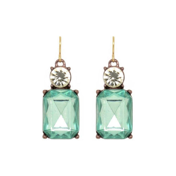 Last True Angel Pale Green and Clear Gem Earrings