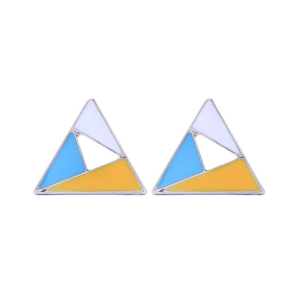 Last True Angel Geometric Turquoise, Yellow & White Triangle Stud Earrings