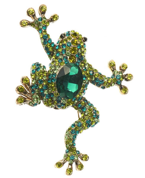Rosie Fox Crystal Green Frog Brooch & Hair clip
