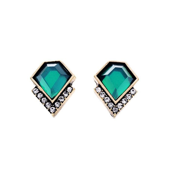 Last True Angel Emerald Green Geometric Stud Earrings