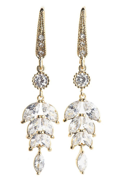 Rosie Fox Gold Crystal Leaf Earrings