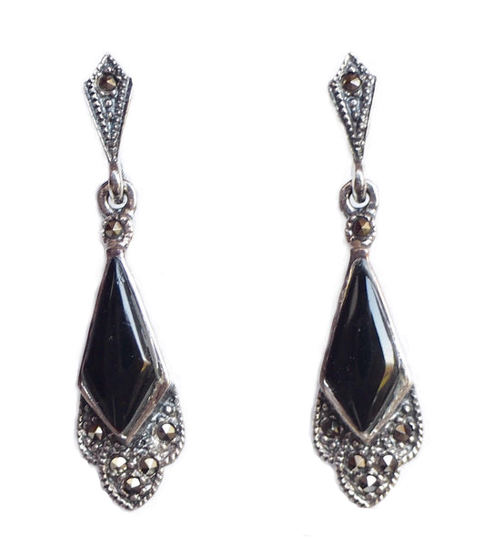 London Vintage Onyx & Marcasite Art Deco Drop Earrings