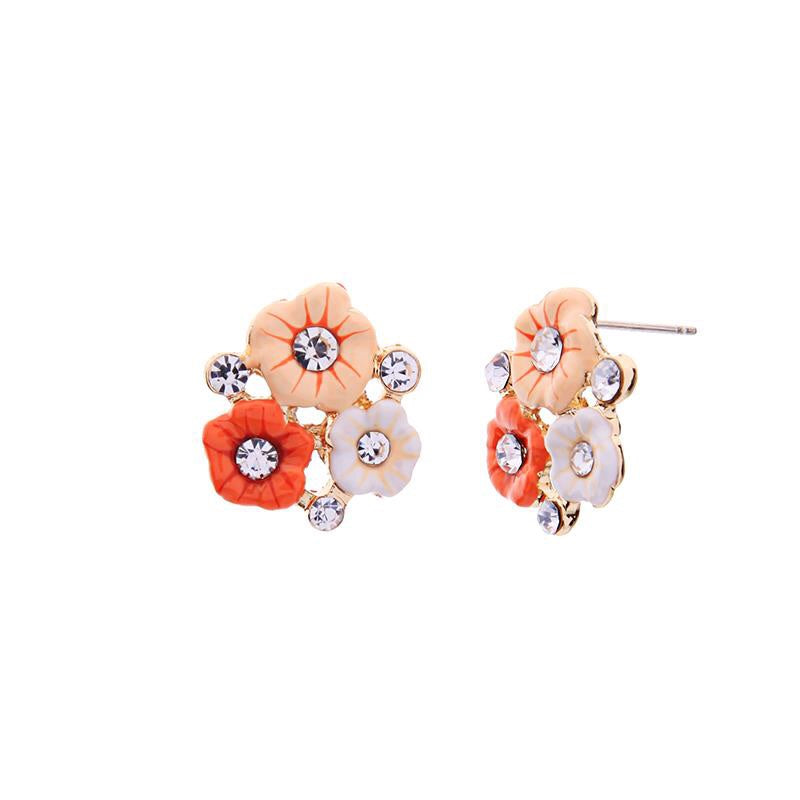 Last True Angel White, Apricot & Orange Flower Stud Earrings