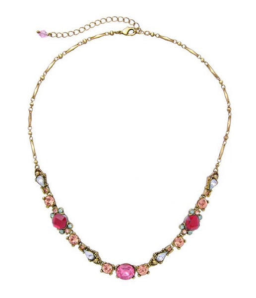 Last True Angel Red, Peach and Pink Gem Necklace