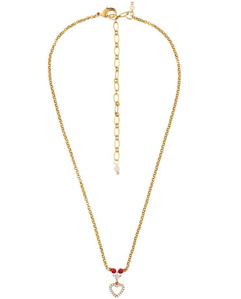 Rosie Fox Ruby Heart Chain Pendant Necklace