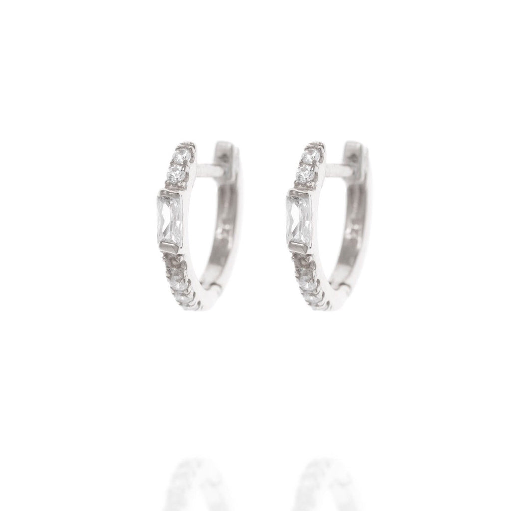 Penny Levi Hoop Huggie CZ Earrings