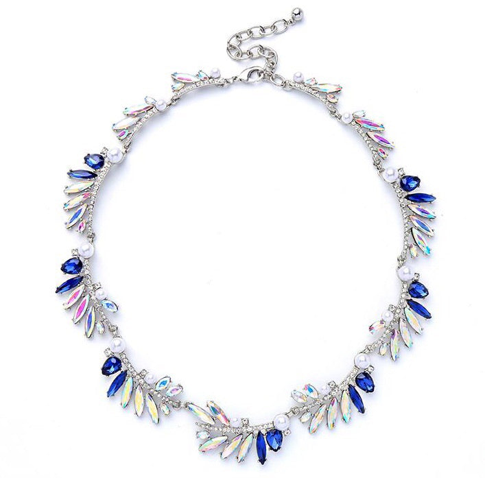 Last True Angel Crystal, Navy & Pearl Cluster Statement Necklace