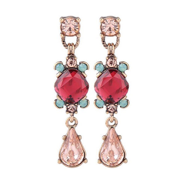 Last True Angel Red and Peach Drop Earrings