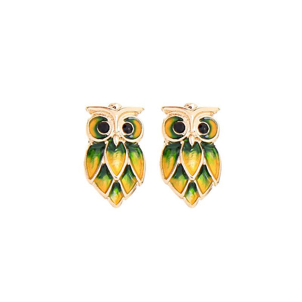 Last True Angel Yellow & Green Owl Stud Earrings